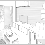 【背景絵】室内のイラストを描いてみる(パースの練習)
